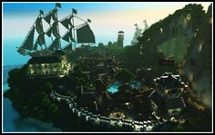 """Large, detailed """"pirate island"""" built in Minecraft."""