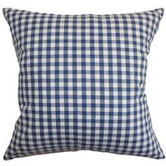 "Down-filled gingham cotton pillow.   Product: PillowConstruction Material: Cotton cover and 95/5 down fillColor: BlueFeatures:  Insert includedHidden zipper closureMade in the USA Dimensions: 18"" x 18""Cleaning and Care: Spot clean"