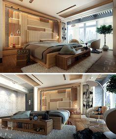 This Modern Bedroom Features An Artistic Wood Headboard With Hidden Lighting Bed Headboard Design, Wood Headboard, Headboards For Beds, Contemporary Bedroom, Modern Bedroom, Trendy Bedroom, Living Room Modern, Living Room Designs, Bedroom Designs