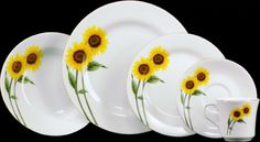 Just fuels my sunflower obsession! Kitchen Dinning, Cute Kitchen, Kitchen Reno, Sunflower Design, Sunflower Pattern, Sunflower Themed Kitchen, Sunflower Cafe, Pottery Painting Designs, Kitchen Themes