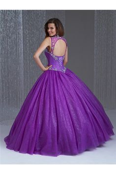Ball Gown Cut Out Open Back Purple Tulle Beaded Quinceanera Prom Dress