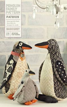 Penguin Family - by Basic Grey - Softy - Patchwork Pattern Doll Patterns, Quilt Patterns, Sewing Patterns, Textiles, Sewing Crafts, Sewing Projects, Tilda Toy, Softie Pattern, Fabric Toys