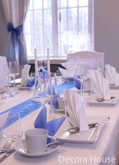 Itsenäisyyspäivän kunniaksi kaunis sini-valkoinen juhlakattaus. Decora Housen verkkokaupasta.