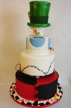 "Backside of the Alice in Wonderland Cake by ""Just for the Cake of It"""
