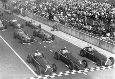 Juan Manuel Fangio, #6, (1st), Giuseppe 'Nino' Farina, #2, (7th), & Luigi Fagioli, #4, (2nd) all in Alfa-Romeo 158s, 2nd row: Philippe Etancelin, #16, (5th), Yves Giraud Cabantous, #18, (8th), French GP, Reims, 1950. --- START of