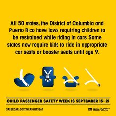 Every state has laws requiring children to be restrained in cars. Learn the facts from http://safercar.gov/therightseat #therightseat