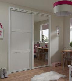 shaker panel door white with shaker mirror door white sliding wardrobe - Sliding Closet Door
