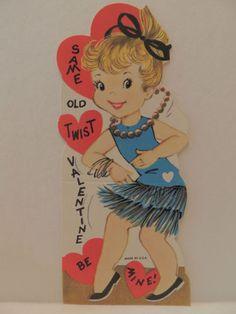 Vintage Valentine Card Girl Dancing The Twist Fringe Dress Unused 1960'S | eBay