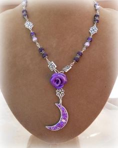 The Amethyst Moon  Filigree necklace. wiccan jewelry,pagan,witch,wicca,metaphysical,