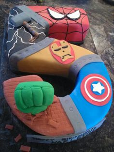 #5 avengers cake Just change the number to 4 and make sections for the Adventures he Wants n more if can fit!