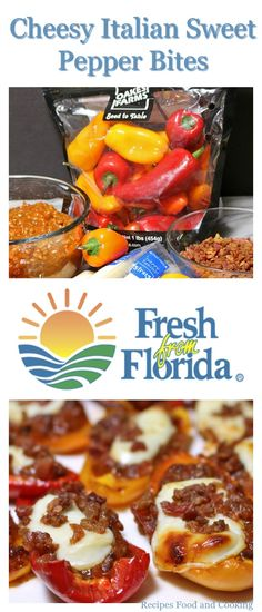 Cheesy Italian Sweet Pepper Bites - from Recipes Food and Cooking made with Sweet Florida Mini Peppers, spaghetti sauce, string cheese and bacon bits. Mini Sweet Peppers, Stuffed Mini Peppers, Stuffed Pepper Soup, Bacon Recipes, Crockpot Recipes, Cooking Recipes, Easy Appetizer Recipes, Yummy Appetizers, Party Food Games