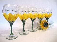 Sunflower wedding glasses by colleenscdmr