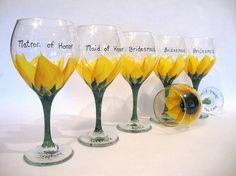 Sunflower wedding glasses by colleenscdmr