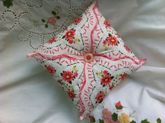 vintage hanky pillow hankies available @ http://www.nanaluluslinensandhandkerchiefs.com/Ladies_New_and_Vintage_Handkerchiefs_Hankies_s/1921.htm
