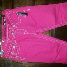 Miss Me Capri New,  pink Caprice,  design on pockets Miss Me Pants Capris