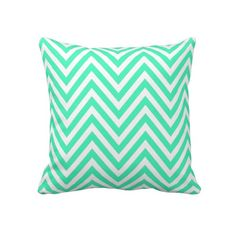 Unique, trendy, fashionable, decorative and pretty pillow. Beautiful light pastel mint or light turquoise green and white chevron zig-zag.