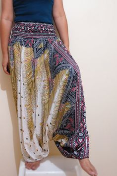 Elegant Peacock Feather Boho Harem Pants Hippy Hippie / Aladdin Pants/ Genie Pants (White) on Etsy, $20.00