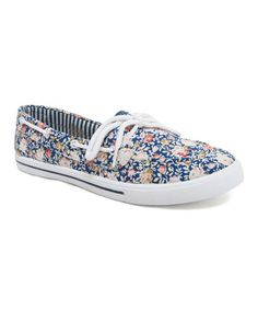 ANOTHER SUMMER STAPLE. Blue & Pink Rose Delight Boat Shoe by Blue Berry #zulily #zulilyfinds
