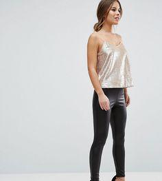 ASOS PETITE Leather Look Leggings with Elastic Slim Waist - Black