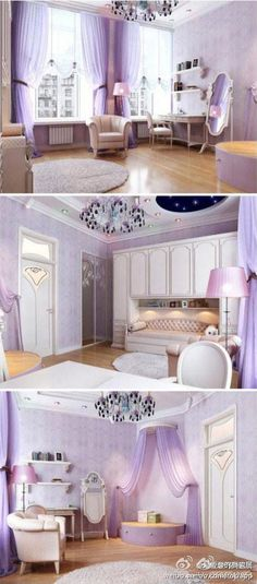 A beautiful purple & white bedroom for a little princess.