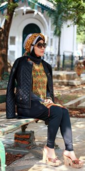 Hijab, with etnic top from sumbawa Indonesia