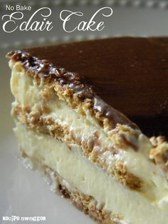 {No Bake Eclair Cake} When it comes to easy no-bake desserts, this one should top your list of recipes to try. Stupidly Easy No-Bake Eclair Cake uses just a few ingredients and comes together in a flash. Graham crackers are layered with light vanilla pudding, and the cake is topped with a dense layer of chocolate frosting. After it sets, the crackers soften and the layers blend perfectly together to create an easy eclair cake everyone is sure to love.