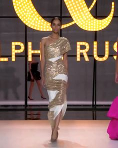 Ralph & Russo Look 39 White silk crêpe candy slit one shoulder sheath evening dress / evening gown, featuring an asymmetric neckline and diagonal tulle panels embellished with gold crystal and glass b Belted Dress, The Dress, Couture Dresses, Fashion Dresses, Ralph & Russo, Elegant Dresses, Sexy Dresses, Backless Dresses, Formal Dresses