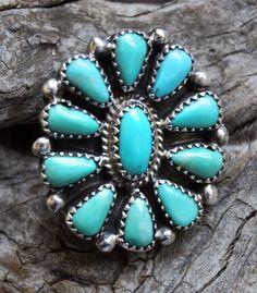 Fait à la main Turquoise bague argent Sterling Native American Indian Zuni Pueblo