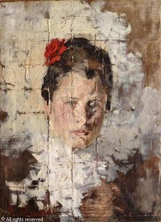 Antonio Mancini - With visible grid lines He placed a wire grid in front of the sitter and painted