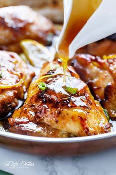 Juicy Honey Lemon Garlic Chicken with a crispy skin and a sweet, sticky sauce with ingredients you have in your kitchen cupboard!   https://cafedelites.com