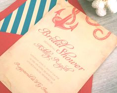 Printable Vintage Nautical Bridal Shower Invitation ~ Coral Invitation, Red Anchor with Rope, Inexpensive PDF Digital Download Wedding by VGInvites on Etsy https://www.etsy.com/listing/206890377/printable-vintage-nautical-bridal-shower