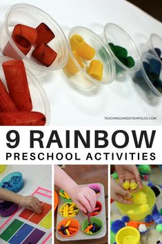 Invite your preschoolers to build their color recognition skills while learning the colors of the rainbow! Here are 9 fun, hands-on activities that will work well with your rainbow theme. Rainbow Activities, Spring Activities, Color Activities, Hands On Activities, Classroom Activities, Toddler Activities, Learning Activities, Preschool Classroom, Preschool Colors