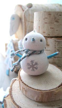 www.swirlydesigns.com Handmade polymer clay designs. #Christmas #christmasornaments #snowman #bluechristmas #handmade #polymerclay