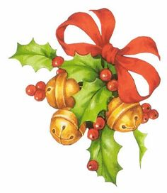 CHRISTMAS BELLS, HOLLY AND RED BOW CLIP ART