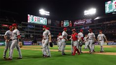 The view that Reds fans love to see . congratulations after a win! Reds Baseball, High Five, Cincinnati Reds, Letting Go, Congratulations, Fans, Give Me 5, Lets Go, Move Forward