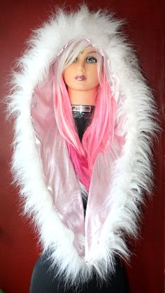 White Sparkly Faux Fur Bunny Hood with Light by GypsySparkleNYC, $65.00