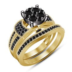 Black Diamond Engagement, Wedding Ring Set For Women's 14k  Yellow Gold FN #aonebianco
