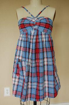 Shirred Babydoll Sundress from Men's Dress Shirt