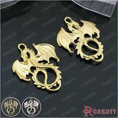 (25301)10PCS 34*27MM Antique Bronze Zinc Alloy Animal Pendants Dragon Charms Pendants Jewelry Findings Accessories #Affiliate