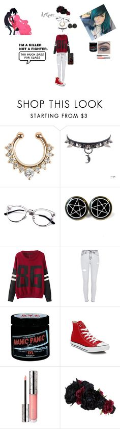 """: :: :"" by silentswitchies000 ❤ liked on Polyvore featuring Bellezza, Chicnova Fashion, River Island, Manic Panic NYC, Converse, By Terry and Accessorize"