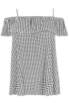 Black & White Gingham Frill Jersey Bardot Top
