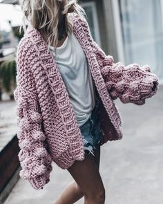 Bubble Cardigan /knit cardigan woman / knit cardigan chunky Hand knitted cardigan /fashion blogger cardigan, oversize sleeves modern, by myworldmap on Etsy https://www.etsy.com/listing/579063271/bubble-cardigan-knit-cardigan-woman-knit