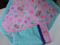 Doll Quilt in Purple, Pink, and Turquise with matching pillowcase  great gift