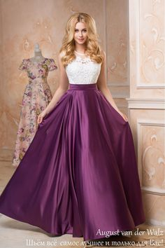 lila Maxi-Kleid ärmelloses Kleid aus Spitze von AugustVanDerWalz