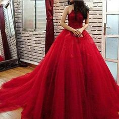 Elegant Red Quinceanera Dress Jewel Lace Applqieu Sheer Back masquerade Ball Gown Sweet 16 Dresses For 15 Years Prom Formal Wear Red Ball Gowns, Ball Gowns Evening, Ball Gowns Prom, Evening Dresses, Burgundy Quinceanera Dresses, Cheap Quinceanera Dresses, Backless Prom Dresses, Tulle Prom Dress, Sweet 16 Dresses