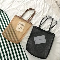 Summer new Korean version chic shopping beach journey simple style mesh tote bag Diy Fashion, Fashion Bags, Korean Fashion, Diy Tote Bag, Accesorios Casual, Fabric Bags, Shopper Bag, Cute Bags, Casual Bags
