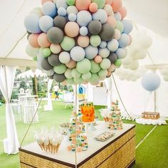 "337 Likes, 8 Comments - The Party Team (@fivestarpartyco) on Instagram: ""Incredible hot air balloon desert table made from latex balloons  Yet another AMAZING soft colour…"""