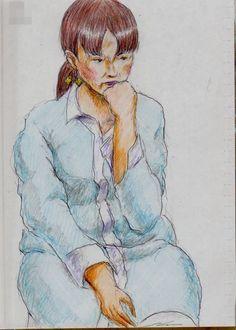 水色のワンピースのお姉さん(電車でスケッチ) This is a woman of sketch wearing a light blue One Piece dress. I drew in a commuter train.