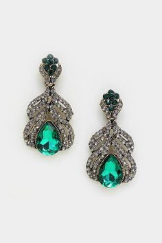 Crystal Jemma Earrings in Paris Emerald on Emma Stine Limited