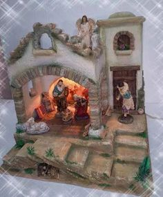 portales pesebres para nacimientos o figuras de 15cm. Nativity House, Christmas Nativity, Diorama, Portal, Cribs, Wallpaper, Ube, Painting, Inspiration